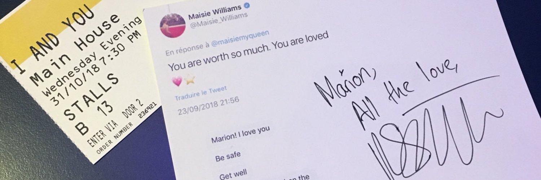 — maisie williams stan ♡ [aslo•on•@bestofmaisiew••@softTJhammond @haydenmyking••@amybethily] i met her 31.10.18