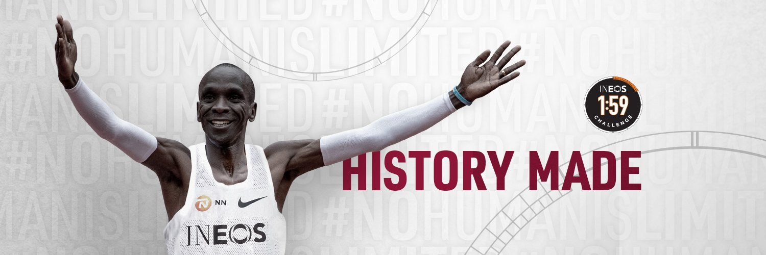 1:59:40.2. History made on 12 October 2019. @EliudKipchoge shows #NoHumanIsLimited by running the first sub two hour marathon. #INEOS159
