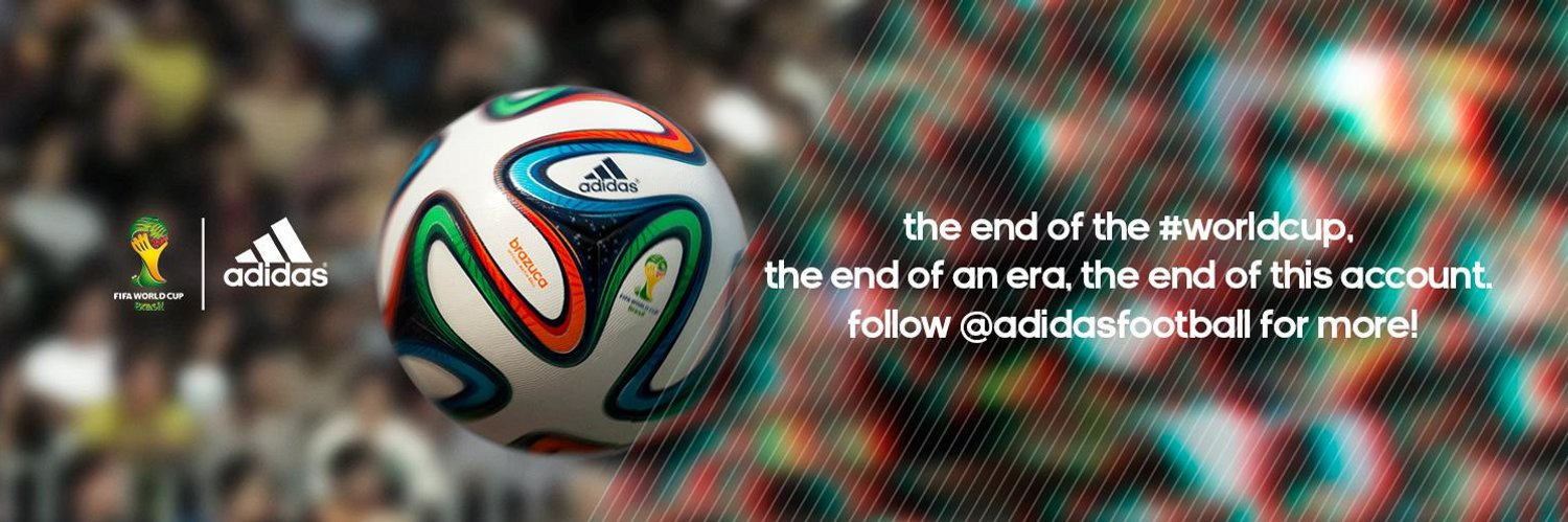 I'm @brazuca, official match ball of the 2014 FIFA #WorldCup. The #WorldCup is over and my journey is now complete. Follow @adidasfootball for more!