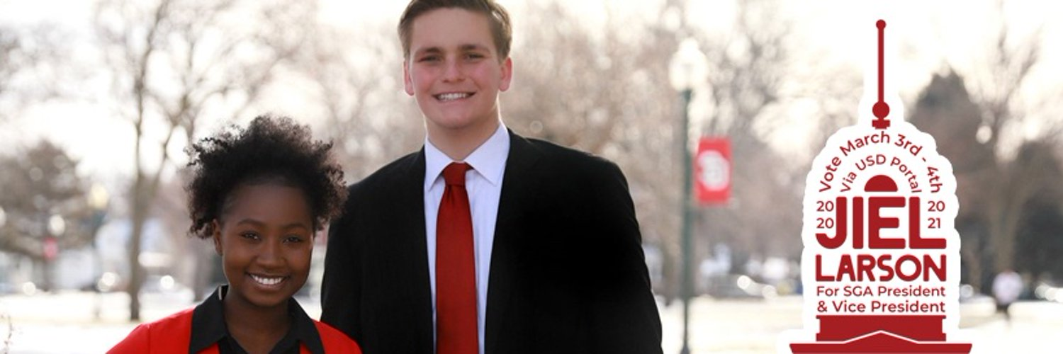 Abuk Jiel & Carter Larson are running for Student Body President & VP at the University of South Dakota. #OneUSD