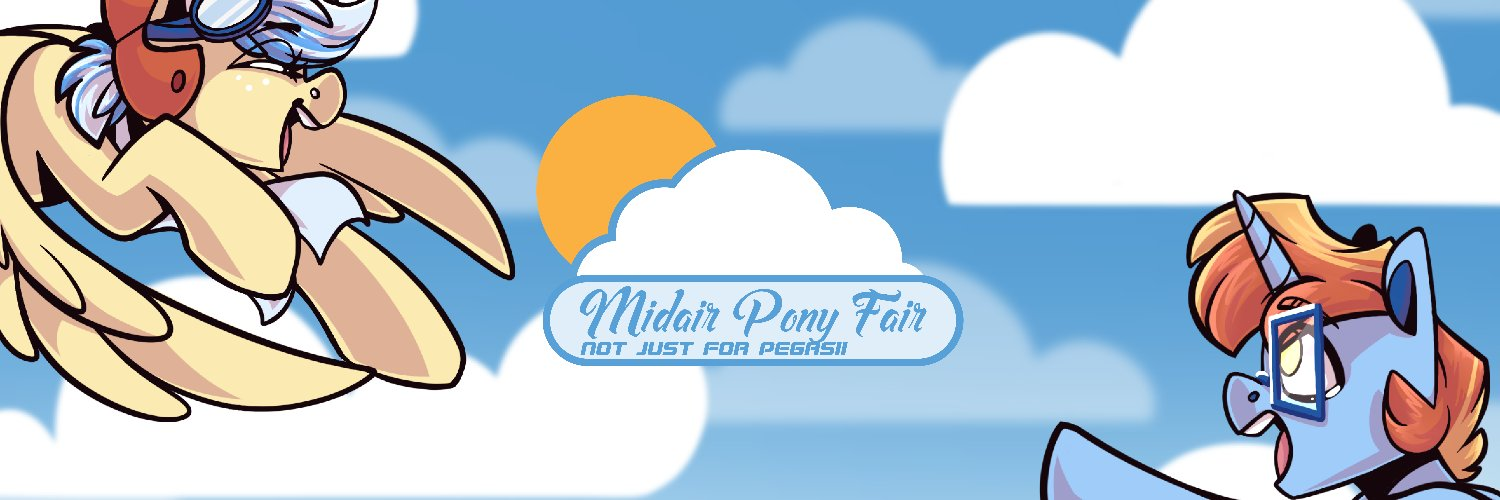 Midair Pony Fair is an online convention made by MLP fandom artists streamed for 24 hours on Twitch. The most creative con in the cloud! Join us May 1-2 2021