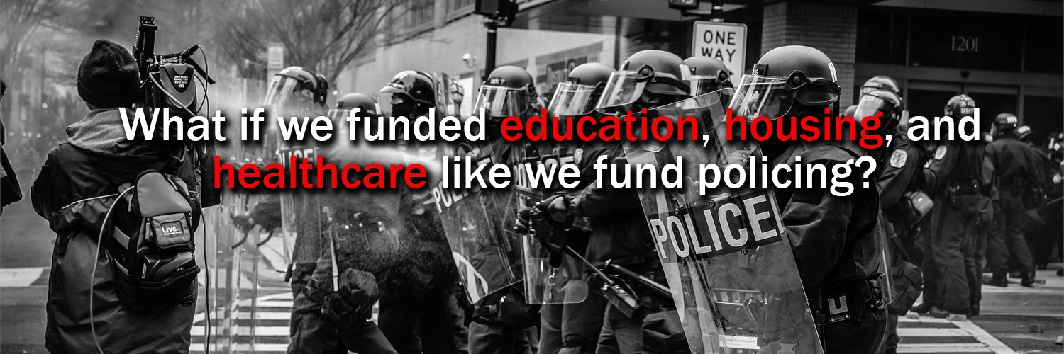 We advocate for a divestment from policing and a re-investment in quality public services and alternatives to violent policing. #DefundThePolice