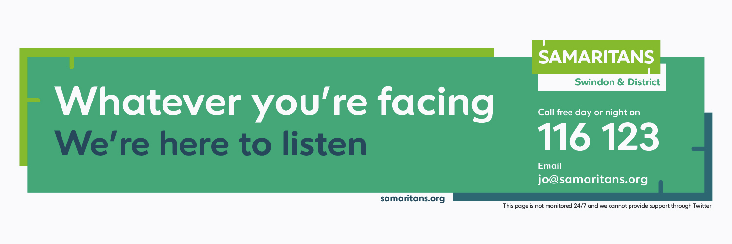 Swindon Samaritans is proud to support our local community. #WeListen - free call 116 123. email: jo@samaritans.org. We cannot offer support on Twitter.