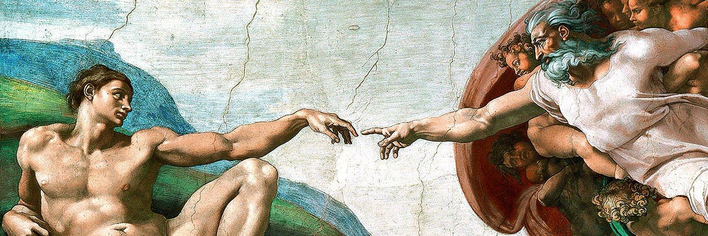 Картина бог и человек тянут руки тем
