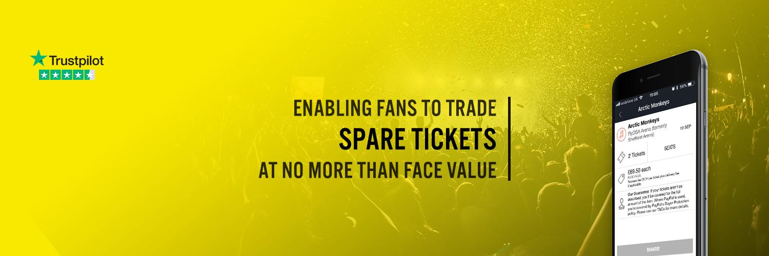 Free app & website enabling fans to buy/sell tickets at no more than face value. Download now on iOS bit.ly/10MxgrM or Android bit.ly/Z33jXd.