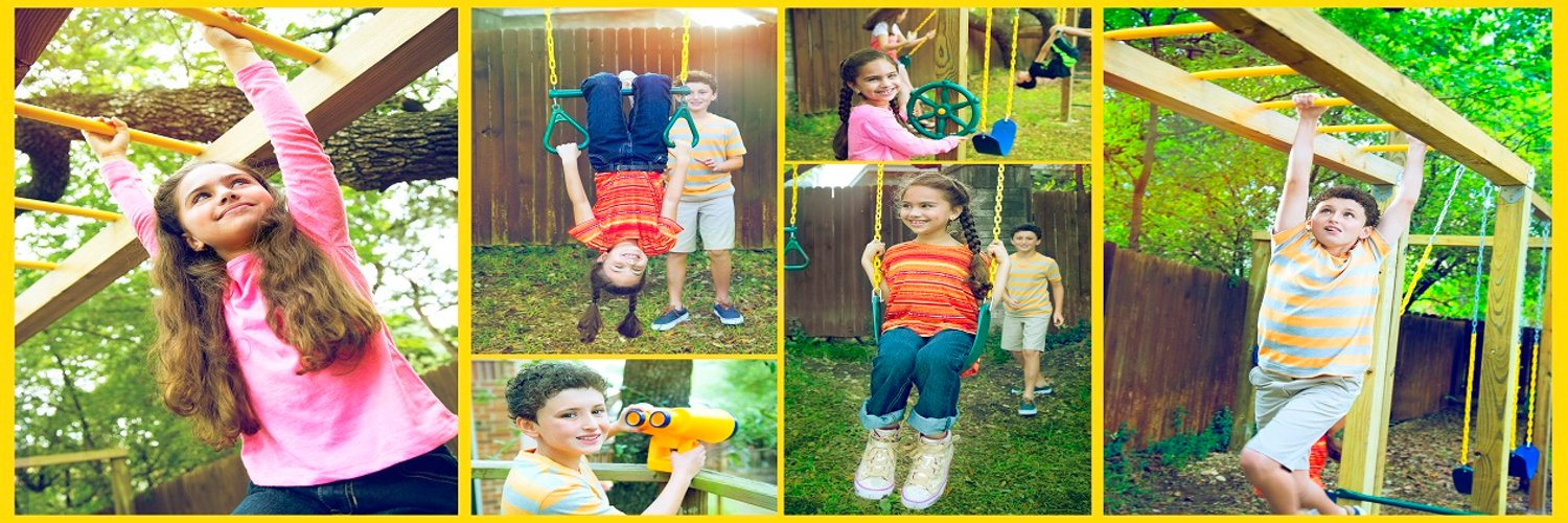 Kid Fun in the back yard! We provide great quality swing set accessories at an affordable price. Jungle Gym Kingdom a place for fun!