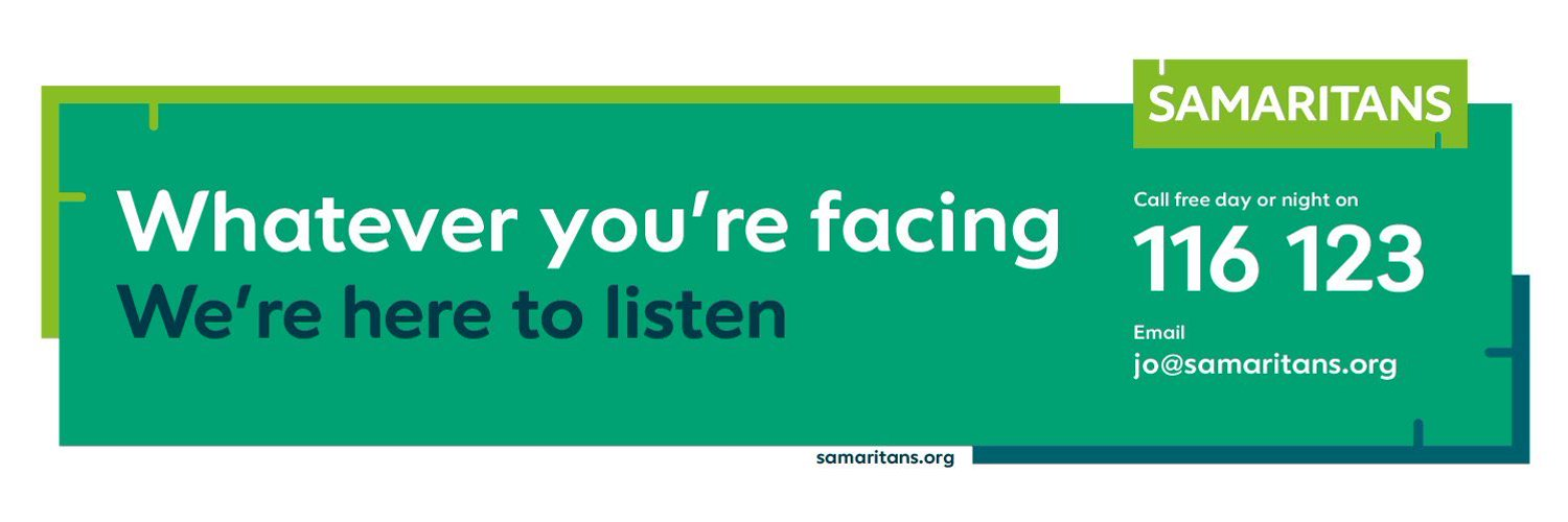 Proud to have been supporting our local community since 1964. We can't offer support on Twitter but #TalktoUs for free on 116 123 or email jo@samaritans.org