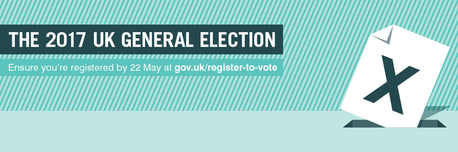 Don't lose your chance to vote in the UK general election #GE2017 Register now gov.uk/register-to-vo… https://t.co/WsAMgv3rgj