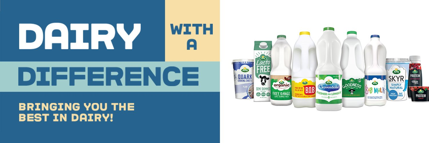 Hello, we're Arla! Our farmers don't just milk the cows, they own the company so all our profits go back to our farmer owners. We're here Mon to Fri, 9 to 5.