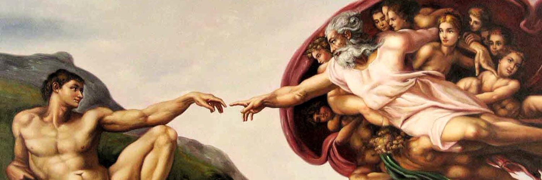Картина бог и человек тянут руки самом