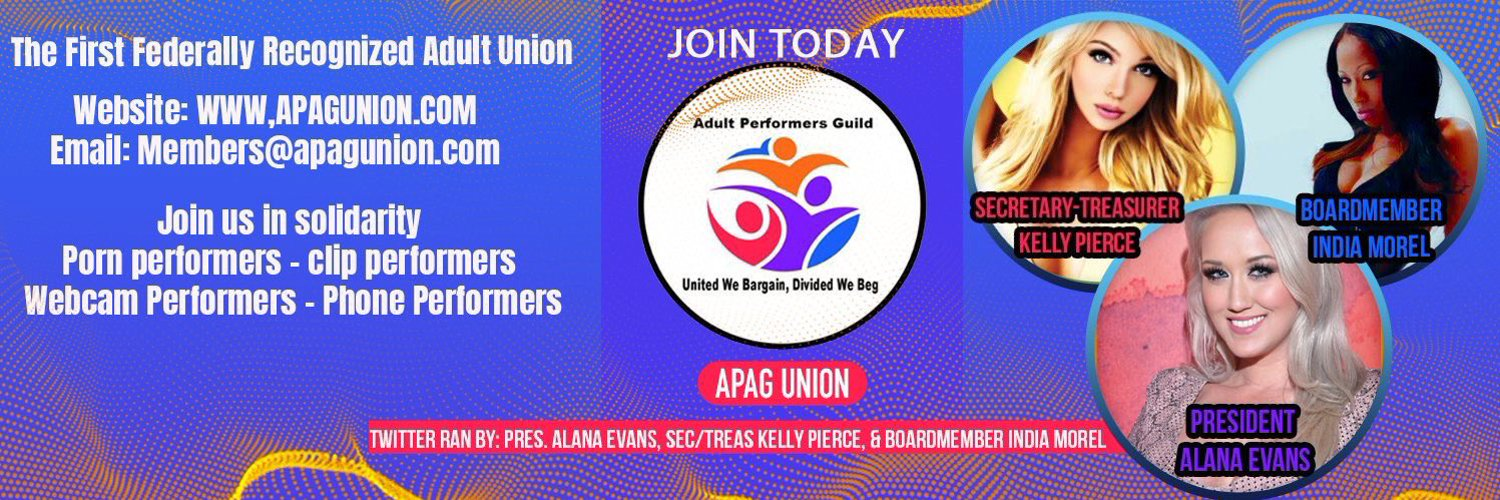 APAG - Adult Performance Artists Guild (@APAGunion) on Twitter banner 2017-12-12 04:49:02