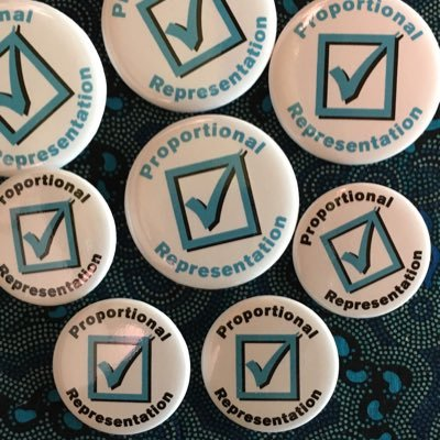 Buttons with slogan 'Proportional Representation'