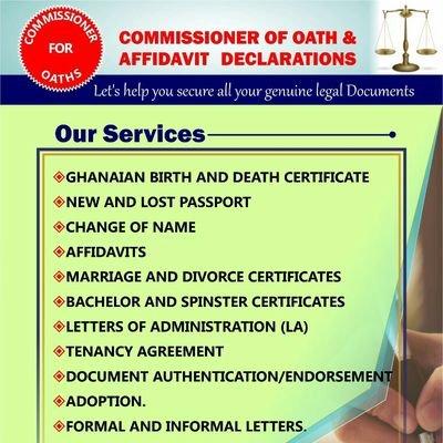 COMMISSIONER OF OATH AND AFFIDAVIT DECLARATIONS