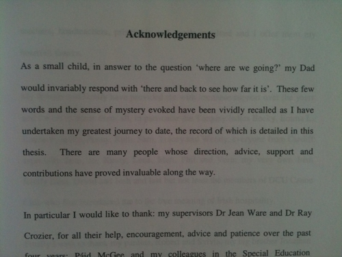 acknowledgement dissertation parents