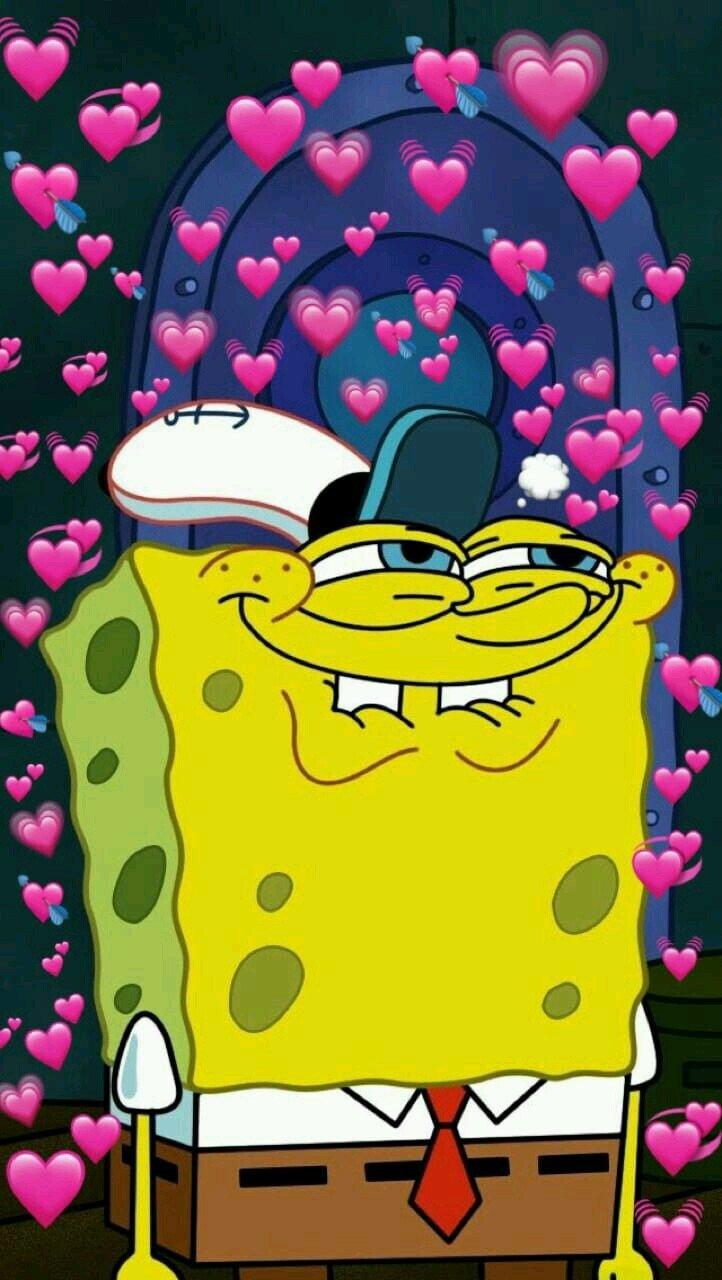 картинки на аву спанч боб с сердечками центре