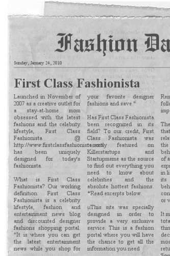 First class fashionista newspaper clipping