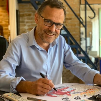 Chaunu est le seul dessinateur de presse à monter sur scène pour allier dessin en direct et humour décalé ...chroniqueur Vivement Dimanche