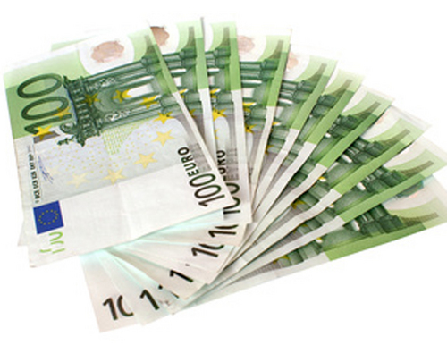 500 And 1000 Euro Notes On White Background, Close-up Stock Photo ...