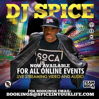 DJ/ Producer/ 7x International Soca DJ of the Year/ https://t.co/In2Y7OBv70 / 10am to 12pm Mon - Fri.  For bookings email: bookings@spiceinyourlife.com