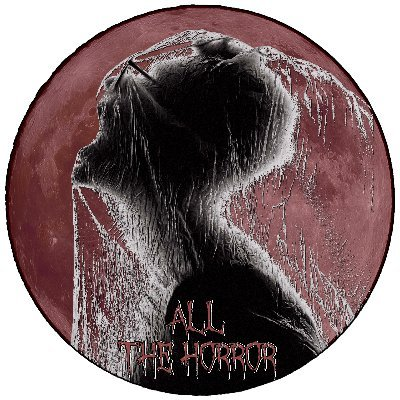 "A circular logo for All The Horror, a muted red moon with a silhouette of a short haired figure from the shoulder up, facing left. A thin veil or water covers the face, having been thrown towards the face and it covers the whole figure. Dripping red and white letter read ""All The Horror"""