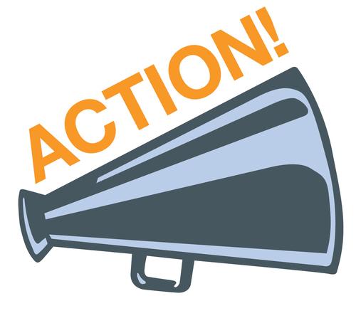 Un porte-voix bleu-mauve avec le mot ACTION ! en lettres oranges majuscules.