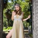 Rabia yalcin champagne empire waist gown reasonably small
