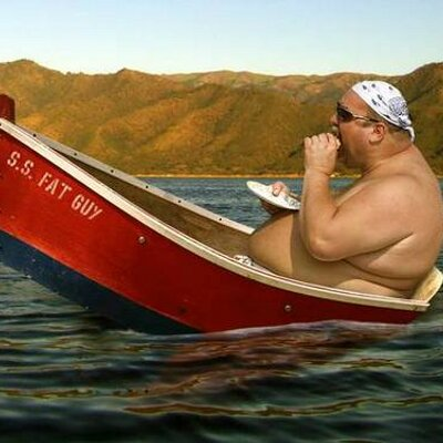 fat man sunburn