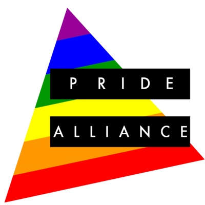 a rainbow triangle with pride on it