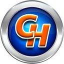 Clickhost logo with silver border reasonably small