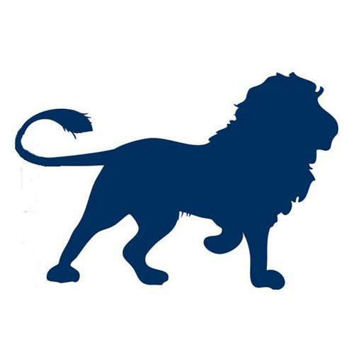 White lion with blue background logo - photo#14