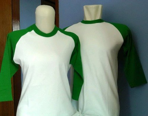 Model Baju Kaos Raglan Couple Putih Hijau