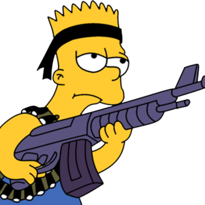 how to draw bart simpson with a gun