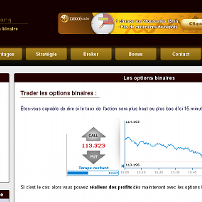 Nous vous proposons un comparatif des meilleurs brokers d' options binaires légaux en France. Il est vrai qu'internet regorge de courtiers en ligne plus ou moins honnêtes et prêts à faire main basse sur vos prises de position.