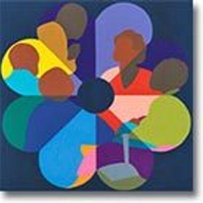 art work depicting black and brown people in the shape of a flower