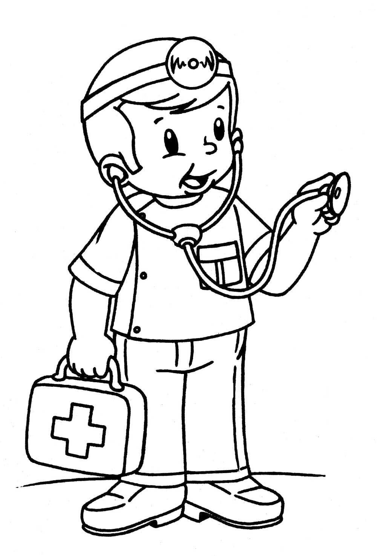 Картинки врач для детей раскраска