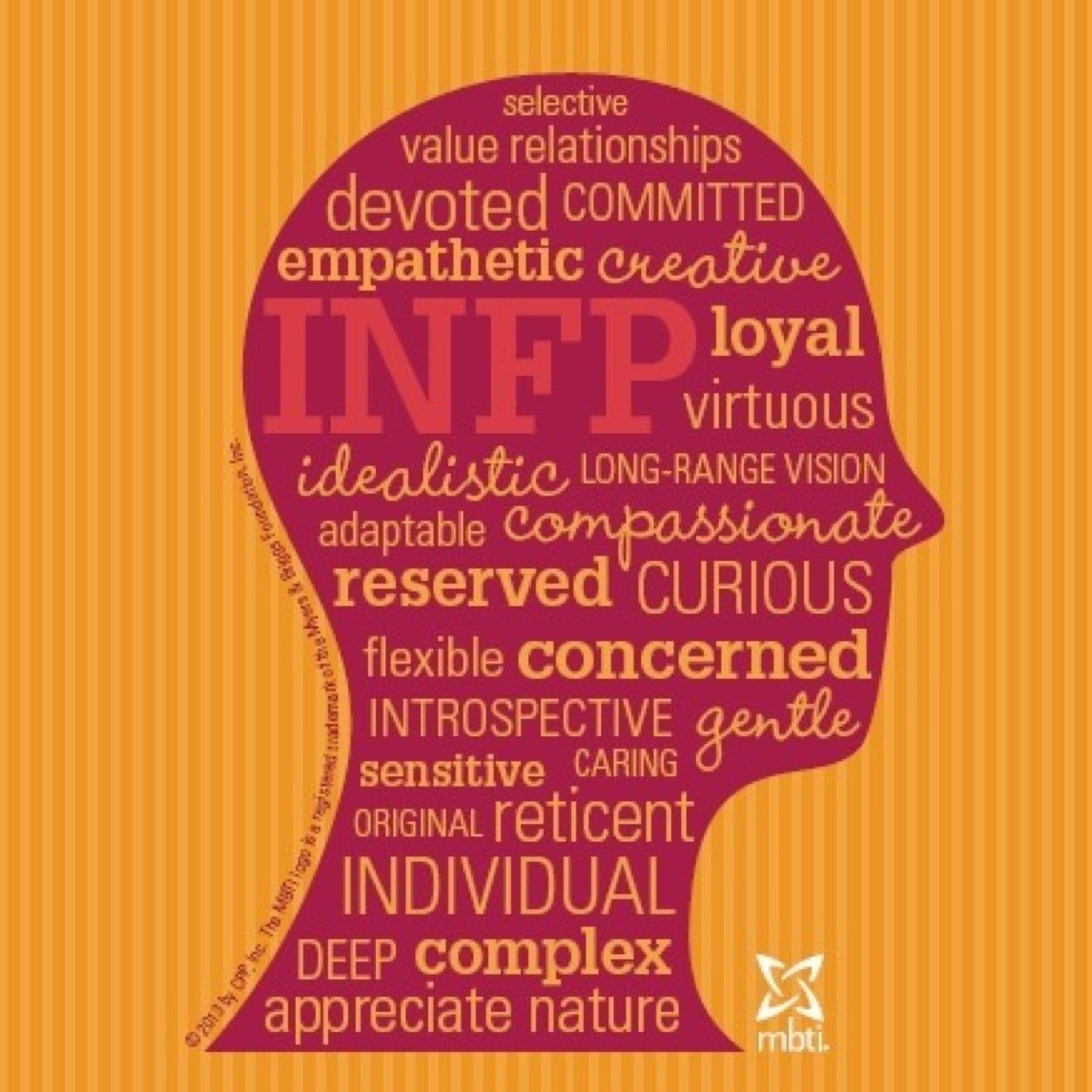 infp personality traits The infp personality type, one of the 16 personality types described by the myers-briggs personality test, is one of the rarer personality types.