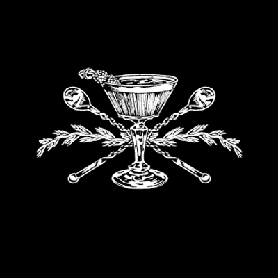 black and white Death and Company logo