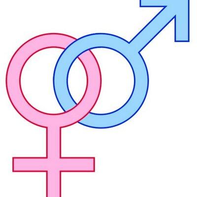 A pink female gender symbol and a blue male gender symbol