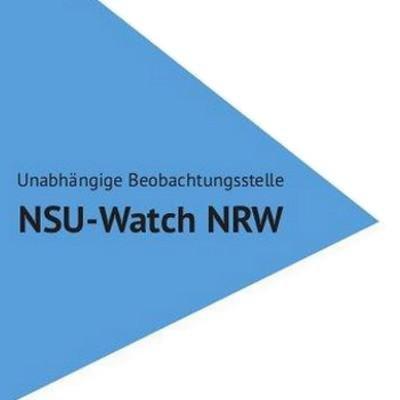 LOGO nsu-watch NRW: blaues Dreieck, läuft nach rechts spitz zu