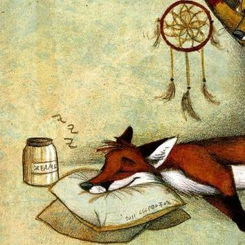 ещё лисенок спать ложится картинка словам