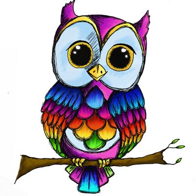 the rainbow owl   the rainbow owl  twitter cute owls clip art cute owl clip art