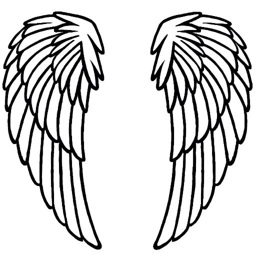 Inventive image inside angel wing stencil printable
