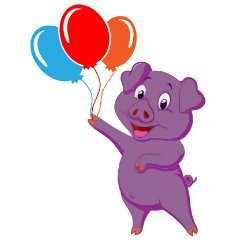 purple pig balloons on thanks nintendo go is
