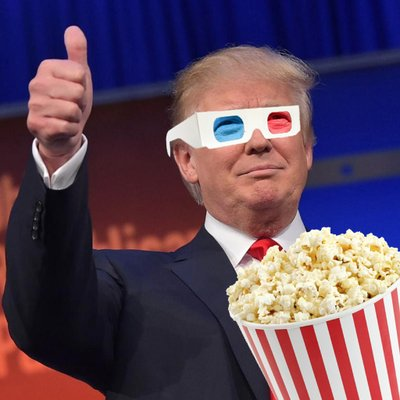 Image result for trump eating popcorn