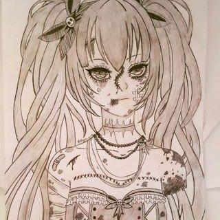 Ragz Art On Twitter Art Tophat Ribbons Blood Anime Girl