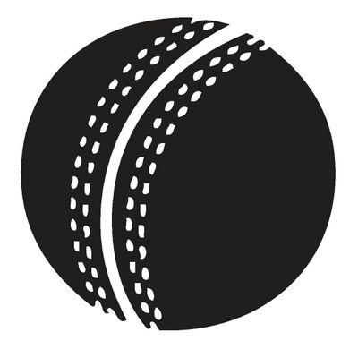 Cricket ball clipart black and white