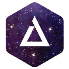Логотип Альфатек на фоне звёзд