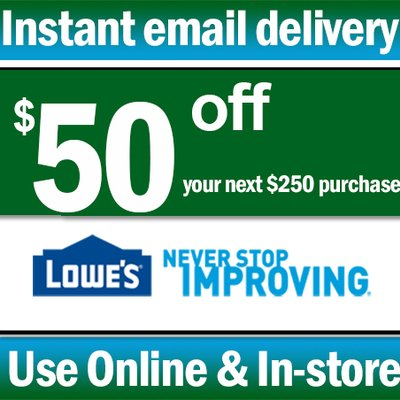 photo about Lowes 50 Off 250 Printable Coupon named Lowes Discount coupons (@lowes_coupon codes4u) Twitter