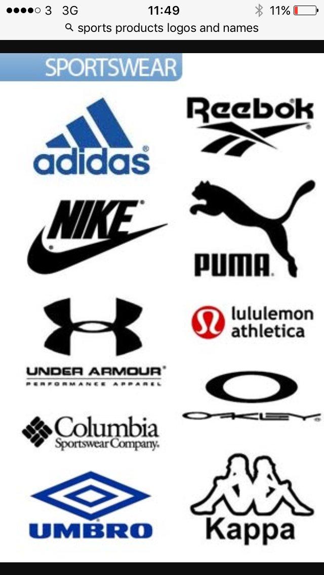 Спортивные бренды логотипы на одной картинке все