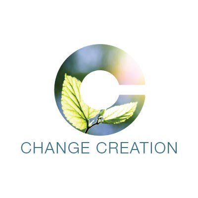 Change Creation logo: Text and Large 'C' shape filled with image of a leaf growing, illuminated by the sun.